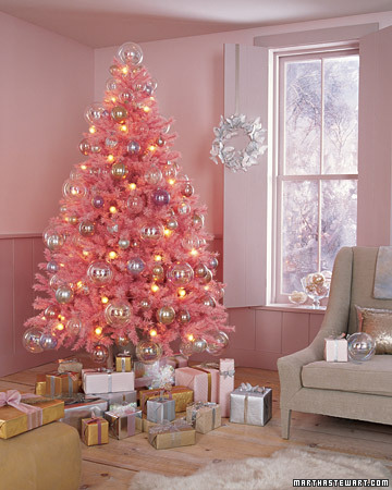 Candy pink Christmas tree via Martha Stewart