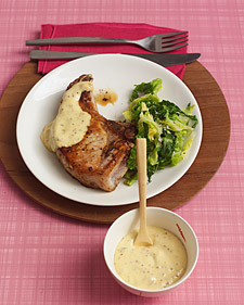 Image of Apricot-Mustard Sauce With Pork Chops, Martha Stewart