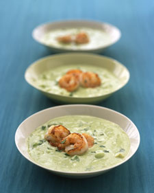 Image of Avocado-Cucumber Soup With Shrimp, Martha Stewart