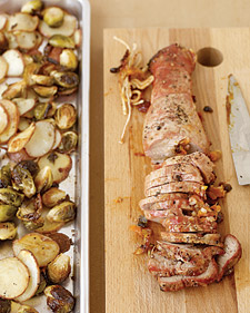 Image of Apricot-Stuffed Pork With Potatoes And Brussels Sprouts, Martha Stewart