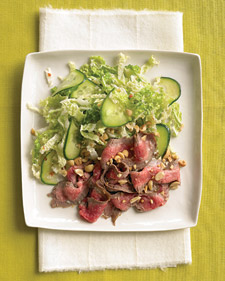 Image of Asian Steak Salad With Cucumber And Napa Cabbage, Martha Stewart