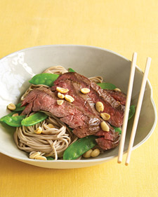 Image of Asian Noodle Bowls With Steak And Snow Peas, Martha Stewart