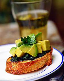 Image of Avocado Bruschetta With Green Sauce, Martha Stewart