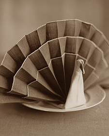 Napkin Folding: Turkey and more entertaining ideas for holidays, special occasions, parties, and every day on marthastewart.com