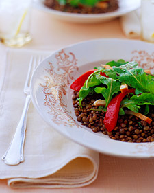 Image of Arugula Salad With French Lentils, Smoked Chicken, And Roasted Peppers, Martha Stewart