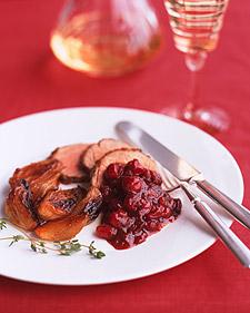 Image of Apricot Pork Tenderloin With Cranberry Black-Pepper Sauce, Martha Stewart