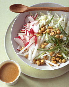 Cabbage and Radish Slaw with Peanut Dressing