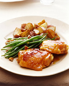 Apricot-Dijon Chicken with Roasted Potatoes and Haricots Verts