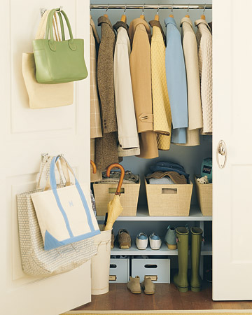Colour coded (of course) coats, bags and shoes organisation, via Martha Stewart