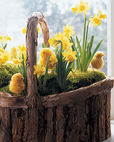 Daffodils and Pom-Pom Chicks Basket