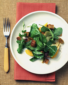 Image of Arugula And Roasted-Vegetable Salad With Whole-Grain Croutons, Martha Stewart