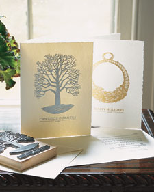 Embossed Holiday Cards and more creative crafts projects, templates, tips, clip-art, patterns, and ideas on marthastewart.com :  marthastewart holiday handmade thanksgiving