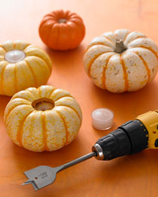 Pumpkin Votives and more creative crafts projects, templates, tips, clip-art, patterns, and ideas on marthastewart.com
