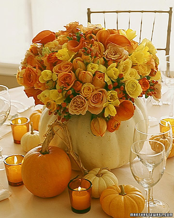 orange pumpkin centerpiece