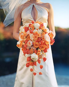 chinese lantern cascade wedding bouquet martha stewart orange
