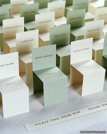 Take Your Seat - what a cute escort card idea!