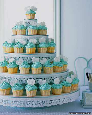 Cupcake Tower Homespun white cupcakes are crowned with fondant hearts cut