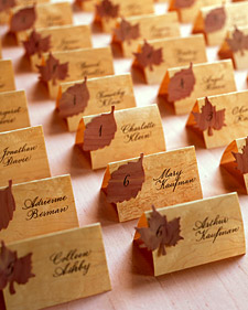 Martha Stewart wood paper leaf wedding escort cards.