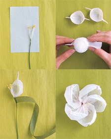 Crafted bouquet martha stewart weddings cut a 16 by 3 12 inch strip of tissue paper make 2 inch accordion folds trim and notch one end of tissue through all layers as shown unfold mightylinksfo