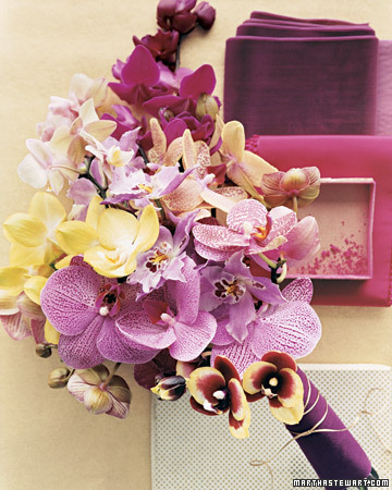 This second striking bouquet is an exotic mix of varying orchid varieties