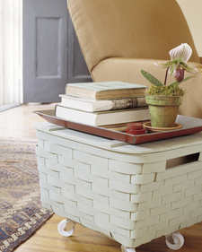 Basket Table: Storage on Wheels