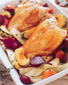 Image of Apricot Roast Chicken With Vegetables, Martha Stewart