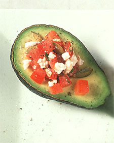 Image of Avocado Halves Stuffed With Tomato And Feta, Martha Stewart